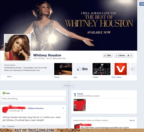 facebook whitney houston celeb dead drug free - 6962940160