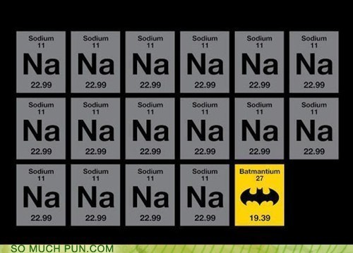 Puns periodic table funny puns pun pictures cheezburger na elements periodic table sodium batman theme song 6963907840 urtaz