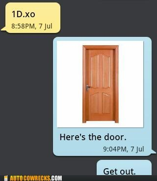 one direction,android,here's the door,get out