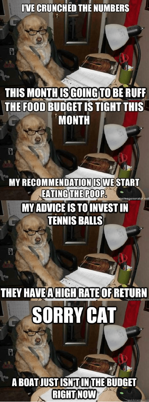 financial advice dog package post meme