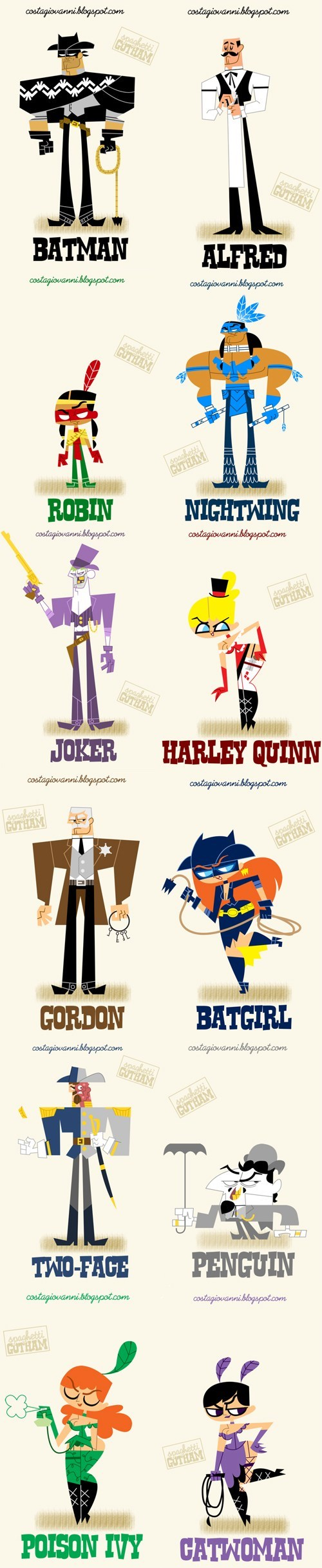 spaghetti westerns,two face,robin,the joker,Fan Art,alfred,catwoman,batman,Harley Quinn,poison ivy