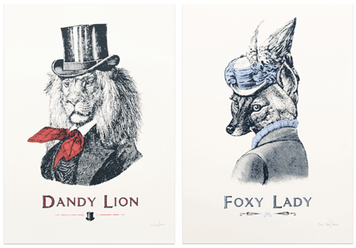 fashion drawing art fox lion vintage - 6964493312