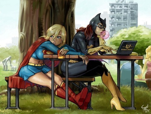 art,cute,batgirl,supergirl