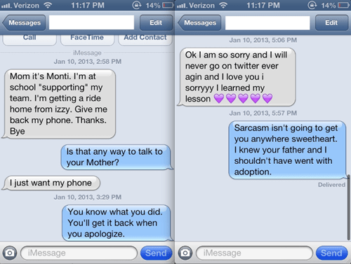 wrong number iPhones mother sarcasm