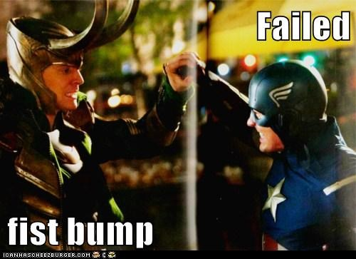 loki,FAIL,tom hiddleston,The Avengers,captain america,chris evans,fist bump