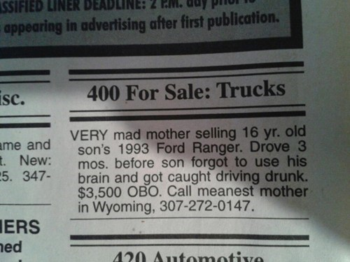 motherson,calssifieds,truck,newspaper