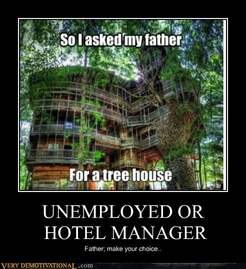 tree house hotel manager unemployed