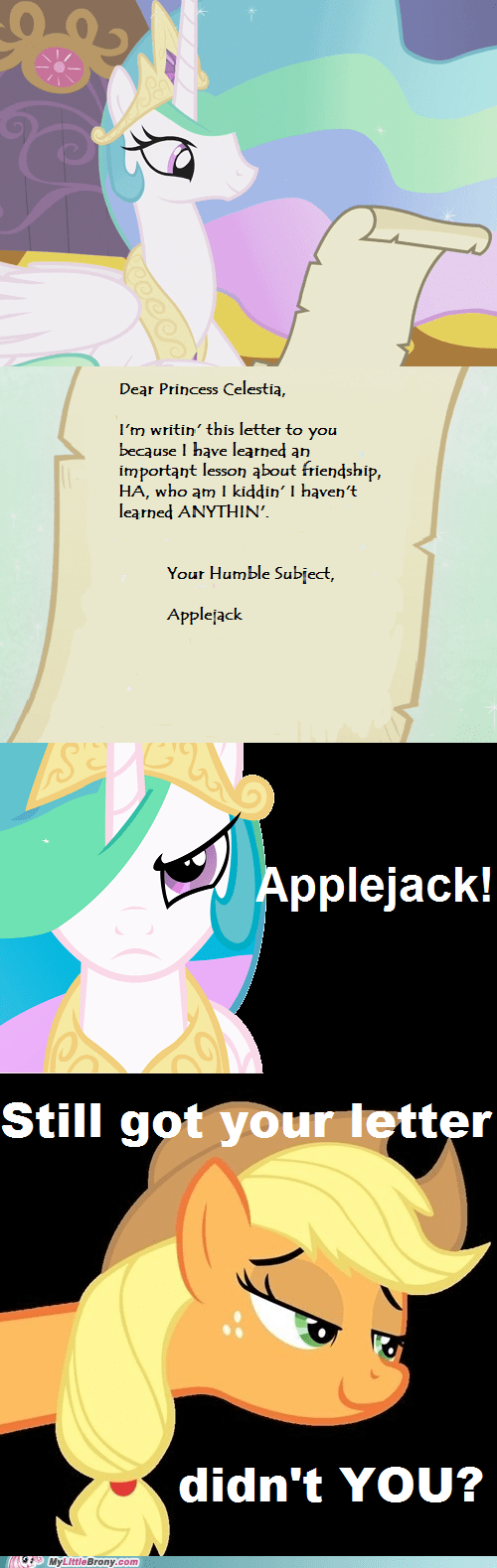 applejack,dat face,letter to celestia