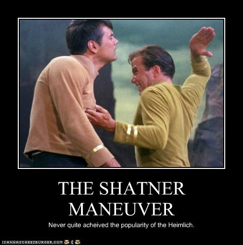 Captain Kirk karate chop Star Trek William Shatner heimlich maneuver
