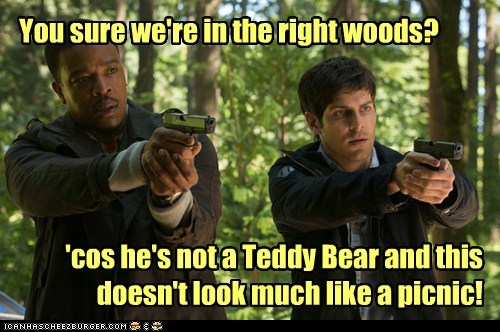 russell hornsby,woods,teddy bear,hank griffin,picnic,grimm,david giuntoli,confused,nick burkhardt