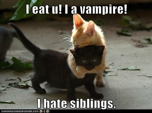 I eat u! I a vampire!  I hate siblings.