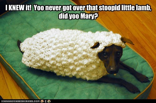 I KNEW it! Yoo never got over that stoopid little lamb, did yoo Mary?