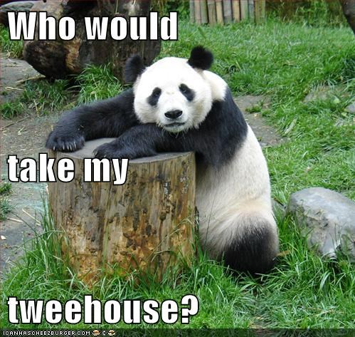 Sad stolen bears panda treehouse stump - 6970251520