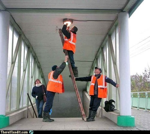maintenance,ladder,lightbulb,g rated,there I fixed it