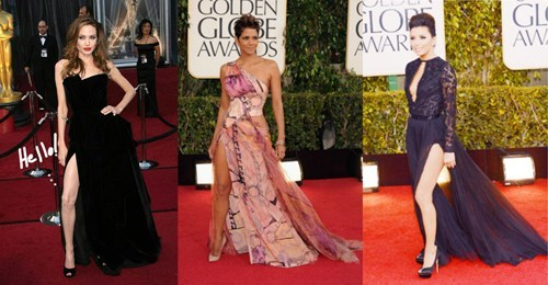 Angelina Jolie golden globes halle berry eva longoria leg - 6970657280