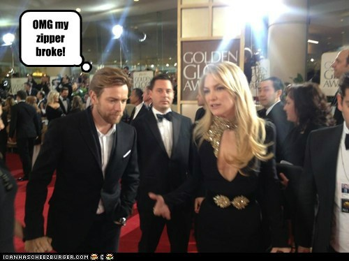 golden globes 2013 funny broke emergency ewan mcgregor zipper