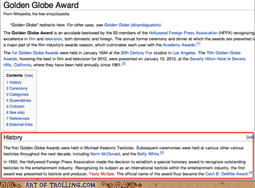 golden globes,history,award,wikipedia