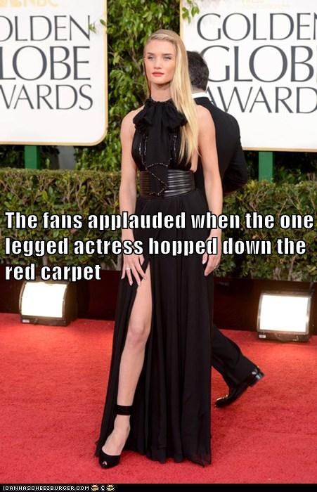 golden globes,hopping,red carpet,one legged,Rosie Huntington-Whiteley,fans