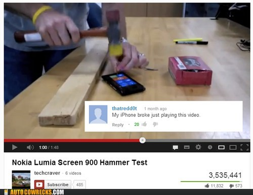 hammer test,hurt feelings,broken,nokia lumia,iphone