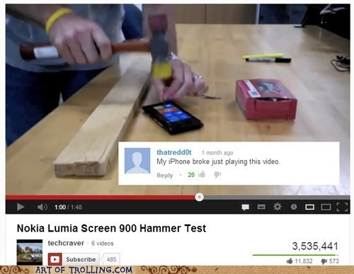 nokia,comments,youtube,hammer,iphone