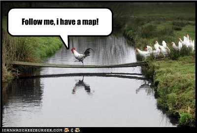 rooster,follow me,map,chickens,bridge