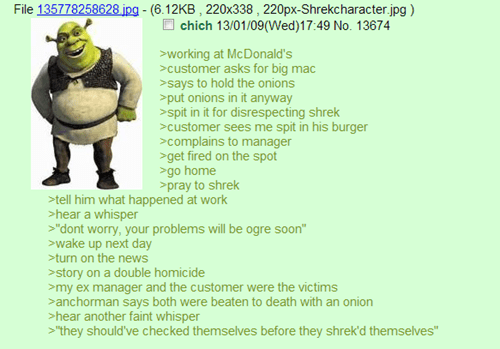 lolwut 4chan similar sounding shrek green text - 6972782336