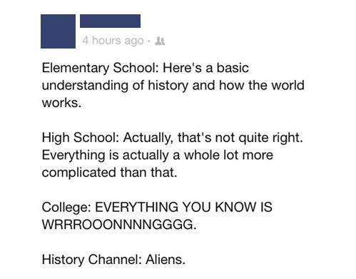 elementary school,high school,college,history channel,failbook,g rated
