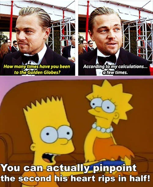 leonardo dicaprio,golden globes 2013,actor,TV,the simpsons,funny