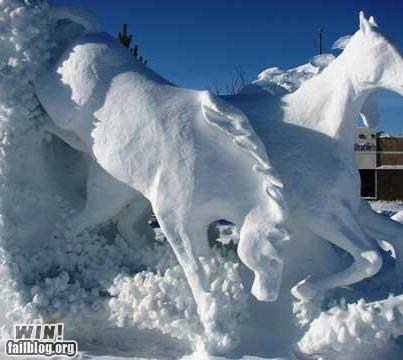 snow,winter,snow sculpture,horses