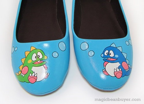 shoes,custom,paint,cute,dragons,handmade,bubble bobble