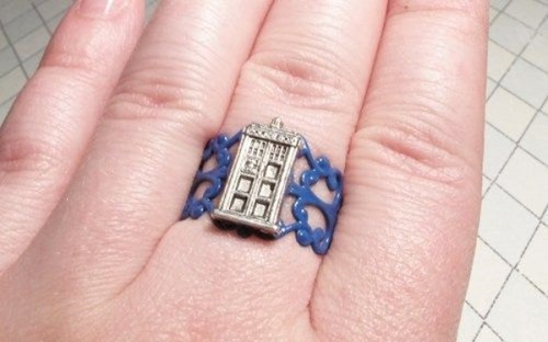silver,custom,handmade,doctor who,ring,tardeis