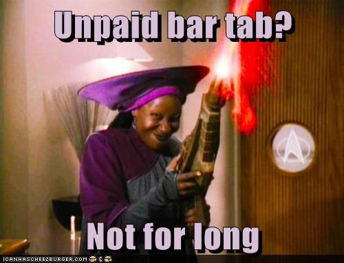 bar,firing,phaser,tab,not for long,angry,whoopi goldberg,Guinan