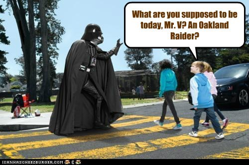 star wars Oakland Raiders crossing guard darth vader