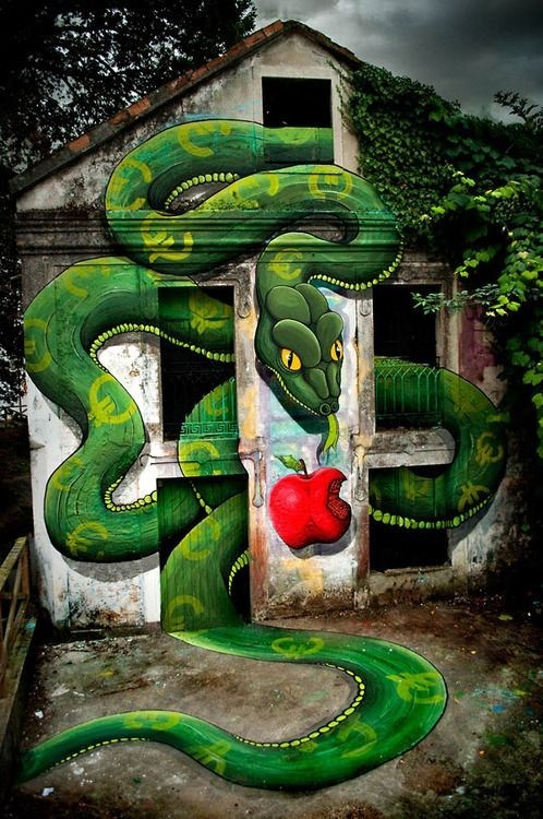 Street Art,forbidden fruit,graffiti,snake