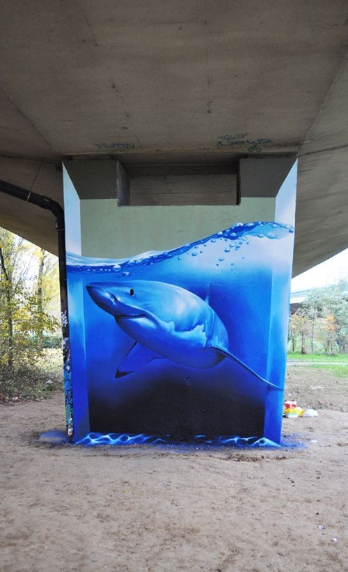 Street Art,art,graffiti,shark,hacked irl