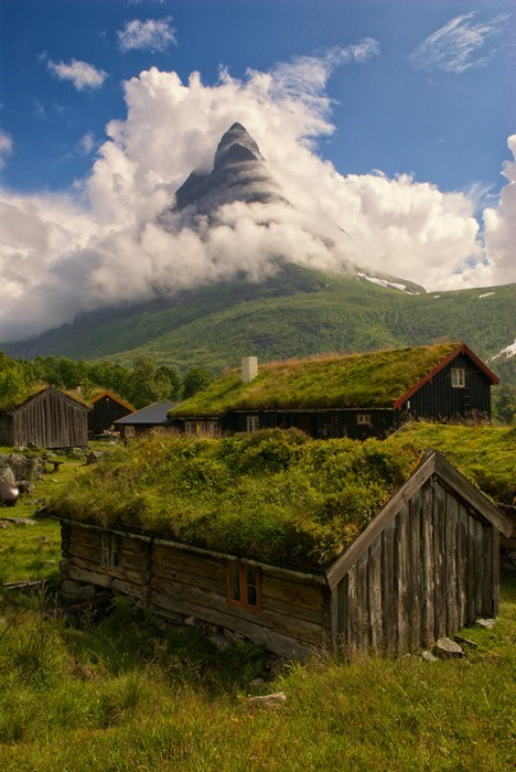 Norway,landscape,cabin,mountain,fog
