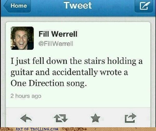 one direction,twitter,fill werrell,Will Ferrell
