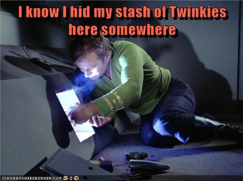 Captain Kirk,stash,looking,twinkies,hid,Star Trek,William Shatner,lost
