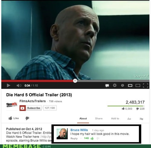 hair,youtube,bruce willis