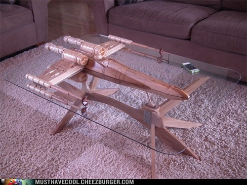 star wars,coffee table,table,x wing,wood,handmade,glass