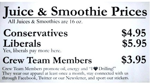 liberals,conservatives,seems fair,smoothie,juice,monday thru friday,g rated