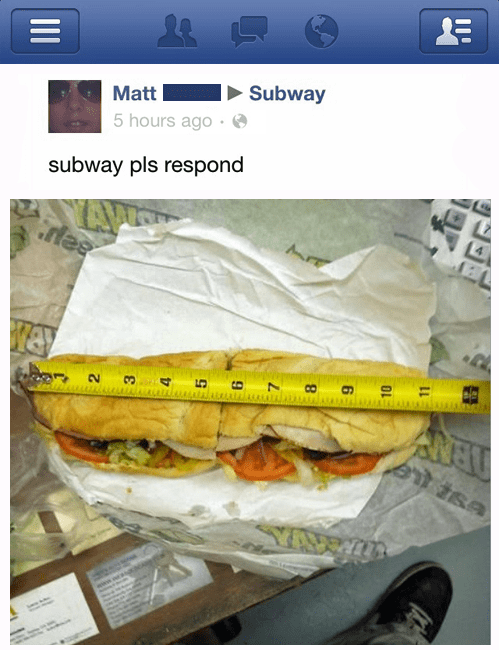 measure lies facebook foot long Subway food - 6975118336