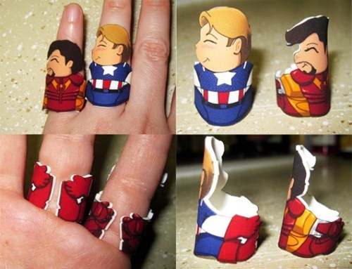 The Avengers cute iron man captain america ring hug - 6975480832