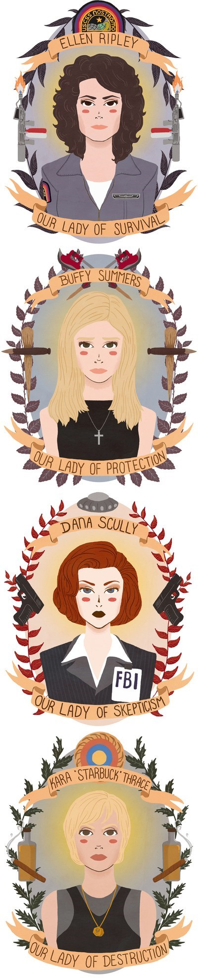 Aliens,buffy summers,kara thrace,Fan Art,patron saints,the x-files,Battlestar Galactica,Ellen Ripley,dana scully,Buffy the Vampire Slayer,starbuck