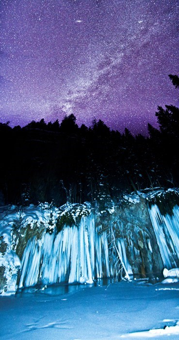 camping,waterfall,pretty colors,night