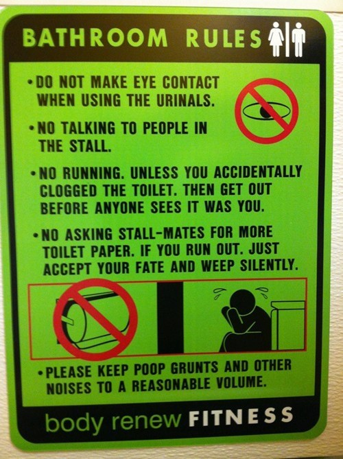 rules warning sign bathroom
