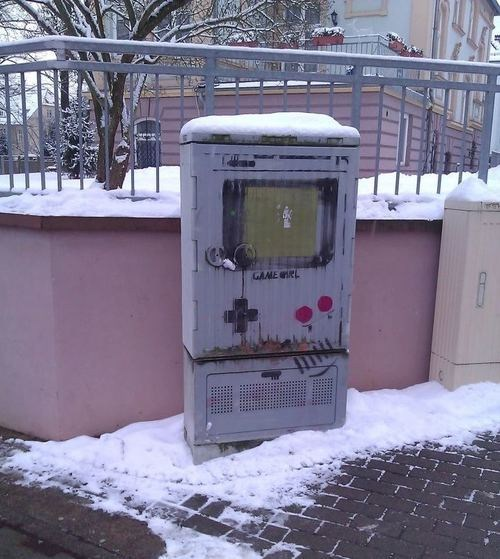 Street Art,nerdgasm,graffiti,hacked irl,video games,gameboy