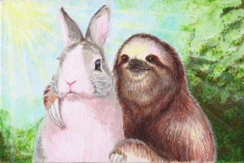 best friends forever,painting,bunny,sloth