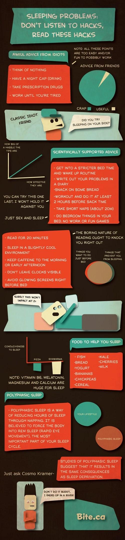 hacks,idiot friends,sleep,infographic