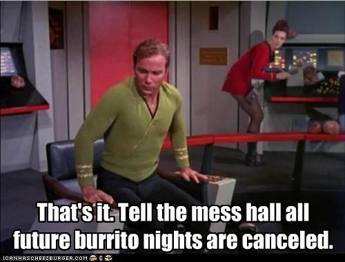 Captain Kirk cancelled farting burritos Star Trek William Shatner Shatnerday